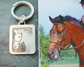 Keychain, Your Pet .. Horse Art, Pet Likeness, Sterling Silver, Solid Back, Head Shot Fathers Day Gift