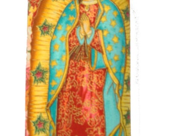 """USA Handmade Bifold Woman Wallet With """"Holy Virgin Mary """" Pattern, Cotton, RED Color,New, Rare"""