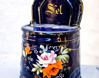 Antique French enameled salt box cobalt blue handpainted with roses early 1900's, french kitchenalia, french vintage enameled salt box