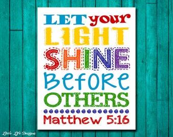Let your light shine before others. Matthew 5:16. Sunday School Wall Art. Christian Wall Art. Kids Christian Decor. Childrens Church Decor.