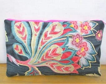 Floral Handbag / Cosmetic Bag / Zipper Pouch - Upcycled Denim