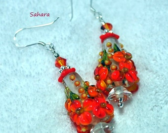 Orange Red Earrings,Lampwork Earrings,Dangle Earrings,Floral Earrings,Flower Jewelry,Colorful Earrings - SAHARA