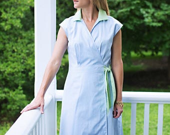 The Preppy Elephant Blue Oxford Wrap Dress