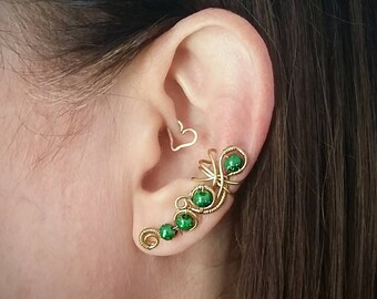 Brass  Ear Cuff with Green Moon Beads Brass Ear Wrap (BR57)