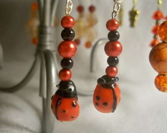 Red & Black Lady Bug Earrings