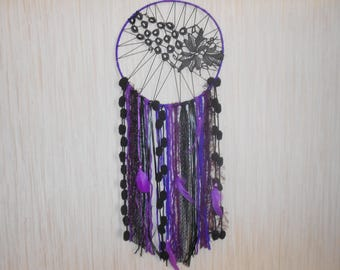 large dream catcher dreamcatcher purple and black, cotton, wool, ribbons, feathers, pearls, LULU