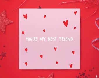 Valentines Greeting Card - Best Friend - Cute valentine Card - Galentine card - Besties