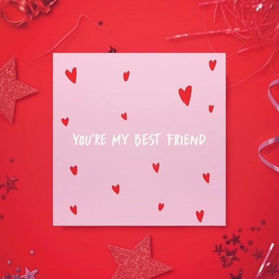 Valentines Greeting Card Best Friend Cute valentine Card