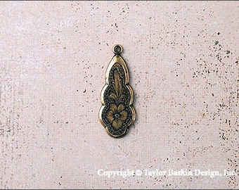 Antiqued Polished Brass Victorian Earring or Pendant Jewelry Drop (item 2810 AG) - 12 Pieces