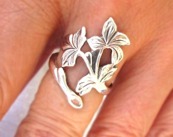 Spring Leaf ring Unique Sterling Silver Jewelry Adjustable Sterling silver ring branch tree jewelry R-136 Trending jewelry 2018