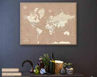 Personalized world map canvas / World map pin board / Push pin map / World map wall art / Travel map / Large world map