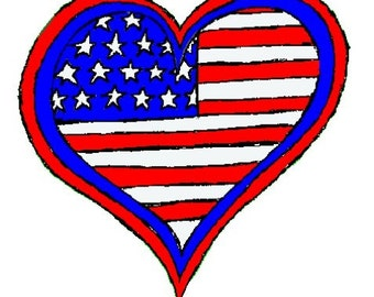 patriotic heart embroidery image