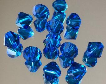Swarovski Crystals - 4-6-8mm Blue Bicone Crystal Beads - Beautiful Mediterranean Sea Capri Blue Crystal Beads - Various Package Sizes (#431)