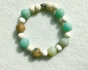 Diffuser Bracelet / Lava Stones / Beaded / Amazonite / Howlite / Aromatherapy / For Anxiety / Essential Oil / Jewelry