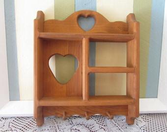 Wood wall shelf with 3 hooks, VINTAGE Heart Cut Shelves, VTG Shelf With Peg, Small Shelf, Knick Knack Shelve