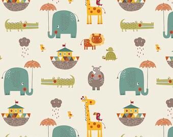 Giraffe Crossing 2 Main Cream by Riley Blake Designs - Noahs Arc Animals - Quilting Cotton Fabric - choose your cut