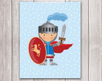 Knight Art - 8x10 Baby Boy Nursery Art, Fairy Tale Art, Knight Nursery, Nursery Decor, Nursery Wall Art