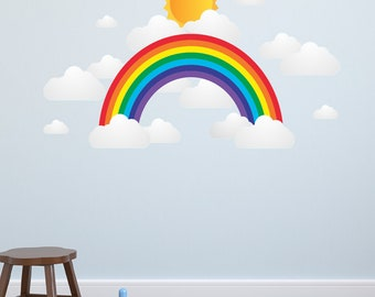 Kids Wall Decals, Nursery Wall Decals, Childrens Wall Decals, Baby Wall Decals, Rainbow Sun and Clouds
