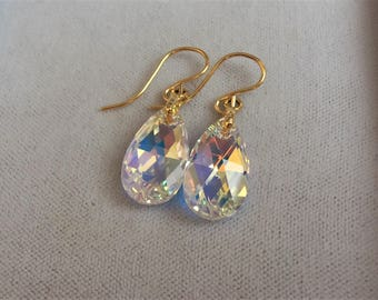 14ct Gold Filled 15mm x 10mm Swarovski AB Crystal Pear Drop Earrings.