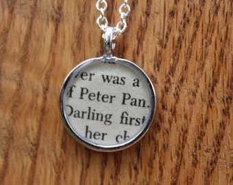 Peter Pan Book Page Necklace - JM Barre - 18 inch chain - Resin protected literary jewelry
