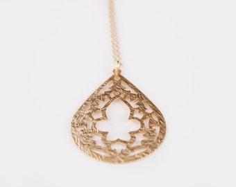 Long Lace Teardrop Necklace - 30 inches - Burst - SALE
