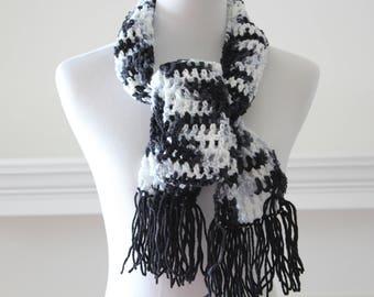 Crochet Black, Gray, White Neckwarmer Scarf