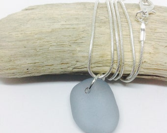 Blue Sea Glass Pendant Necklace, Sea Glass Necklace, Seaham Sea Glass Necklace, Sea Glass Jewelry, Seaglass Jewellery, End of Day Sea Glass,