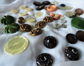 Fancy Antique Vintage buttons, various materials, Bakelite Rhinestone Celluloid Mother of Pearl, Shell. Sustainable Fashion. Four Dozen Lot