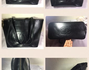 Vintage CC Large Black Leather Shoulder Bag OBO