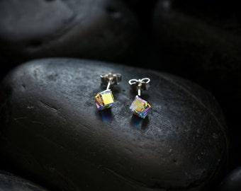 Small Vivid Crystal Cube earrings. Swarovski Crystal set in a Rhodium finish