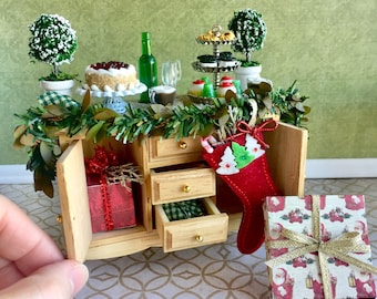 Dollhouse Christmas decorated cabinet, Christmas miniature, miniature pastries