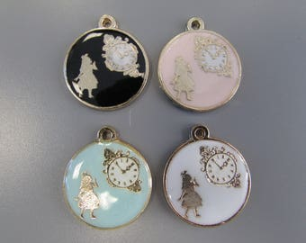 Alice in wonderland charm pendant 4 colours to choose