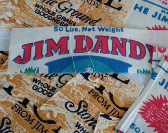 Large Lot of Repro Flour Sack Front Panels Cabin Home Cornmeal Jim Dandy Grits.  Unbleached Muslin Crafting Quilting Sewing Supply