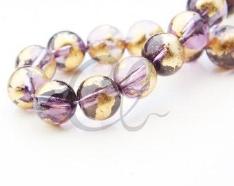 19pcs of Round Glass Beads - Transparent Purple Gold Foil 10mm