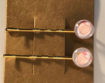 Pink chickens on gold Bobby Pin Set