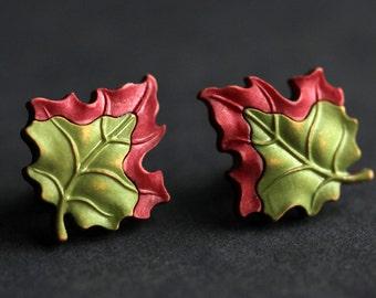 Leaf Earrings. Autumn Leaves Earrings. Brick Red, Olive Green Leaf, Bronze Earrings. Dark Red Earrings. Green Earrings. Handmade Earrings.