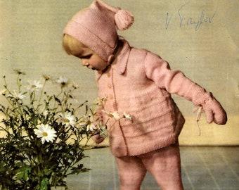 LAVENDA 496 Vintage Baby Pram Set  Knitting Pattern Instant Download