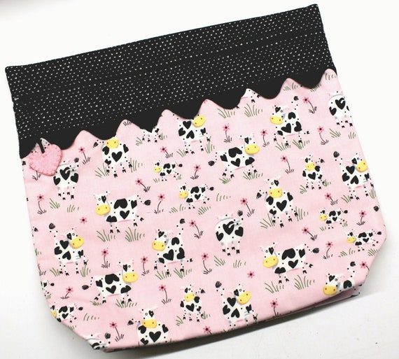 MORE2LUV I Heart Cows Cross Stitch Embroidery Project Bag