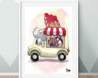 Elvis Elefant, poster, A2, A3, A4, Children's room, print, Deco, wall decoration