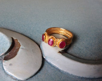 K22 Solid Gold Byzantine ruby ring,Handmade Byzantine style ring.Byzantine ring.Precious stone, Ruby ring,Greek jewelry.Ring for Woman.