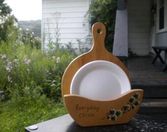 paper plate holder wooden holder ivy plate holder paper plates kitchen plate & Camping plate holder | Etsy