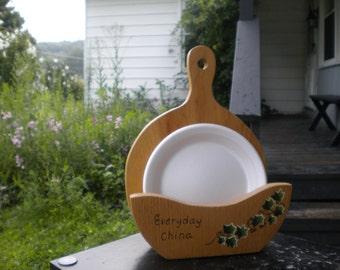 paper plate holder wooden holder ivy plate holder paper plates kitchen plate holder handcrafted holder serva plate picnic plates & Paper plate holder | Etsy