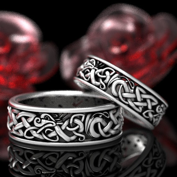 Sterling Silver Celtic Dragon Ring Set, Womens & Mens Wedding Bands, Matching Wedding Rings, Dragon Jewelry, Custom Celtic Knot Ring 1172