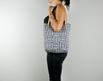 Grey Canvas Tote Bag, Hand Printed Fabric Purse, Fabric Block Print, Handmade Purse, Shoulder Bag, Market Bag, Diaper Bag, Leather Straps