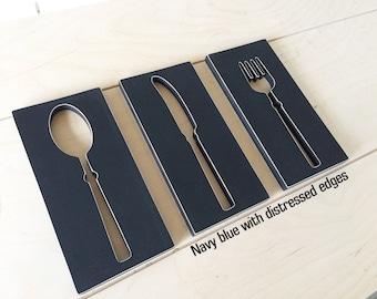 Spoon Knife Fork Kitchen Decoration - BIGGER set. Dining Room Signage,Rustic Dining Room Pallet Sign Fork Knife Spoon. Rustic kitchen decor