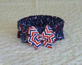 "Star Ribbons Dog Scrunchie Collar - patriotic chevron bow - Size L: 16"" to 18"" neck"