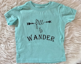 Free to wander shirt, wander toddler shirt, wild and free boys shirt, free boys shirt, boho boys shirt, trendy boys shirt