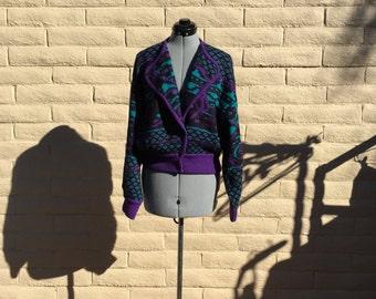 Vintage Purple Abstract Mohair Wool Cardigan Sufer Paris SzM