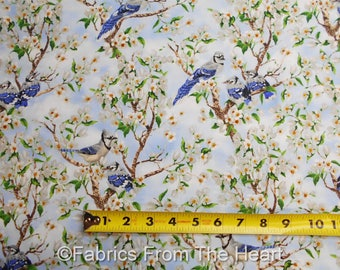 Birds of a Feather Blue Jay Cherry Blossoms flower BY YARDS Blank Cotton Fabric