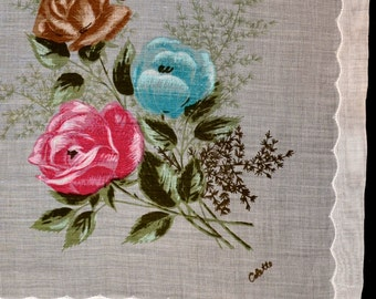 Hand-Painted Vintage Handkerchief by Colette
